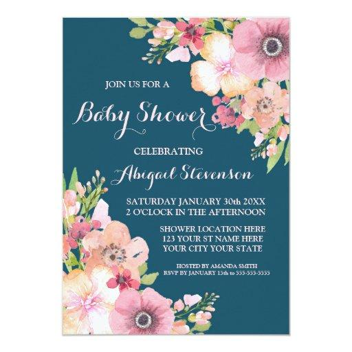 Navy Blue Watercolor Flowers Baby Shower Invitations