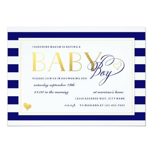 Navy & White Stripe Baby Boy Shower Gold Accents
