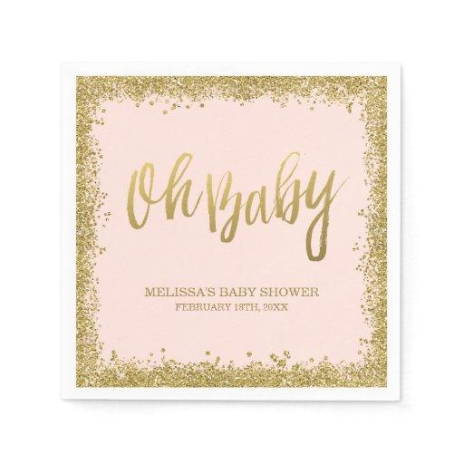 Oh Baby Blush Pink Gold Glitter Baby Shower Standard Cocktail Napkin