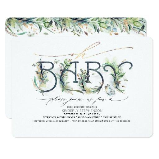 Oh Baby Greenery Baby Shower Gender Neutral Invitation