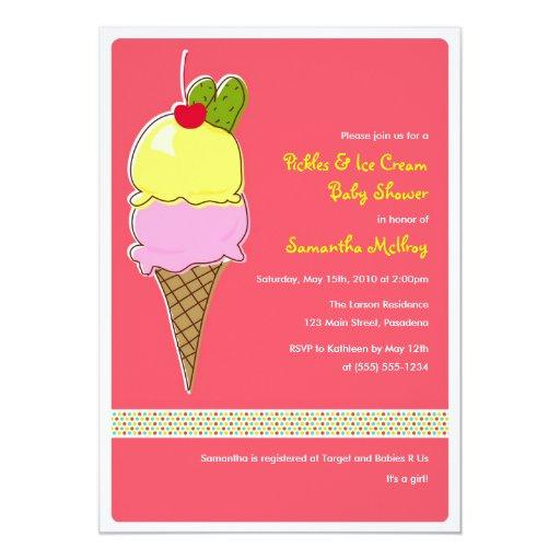 Pickles and IceCream Baby Shower, It's a Girl Invitations