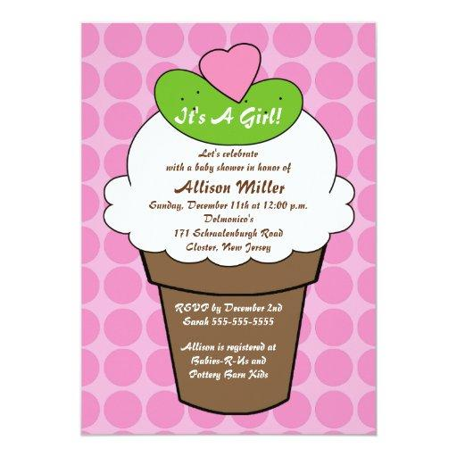 Pickles & Ice Cream Girls Baby Shower Invitations