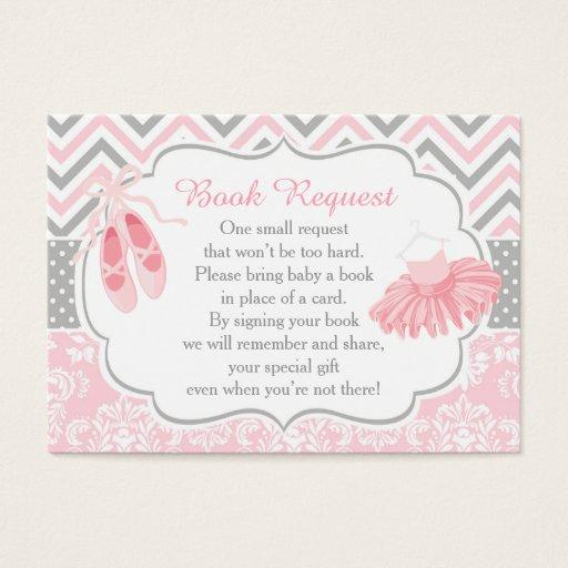 Pink and Gray Chevron Ballerina Baby Book Request  Invitations