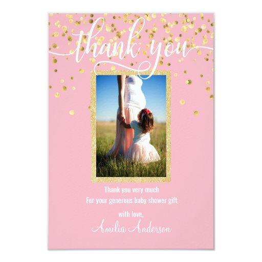 Pink Gold THANK YOU Baby Shower Girl | PHOTO Invitations