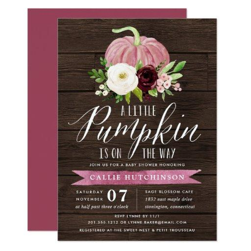 Pink Pumpkin Rustic Wood Baby Shower Invitation