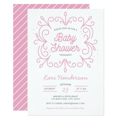 Pink Scroll Baby Shower Invitation