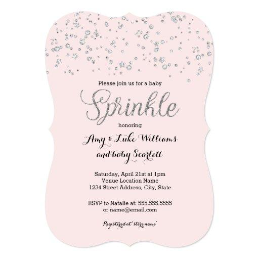 Pink Silver Baby Sprinkle Girl Shower Invite