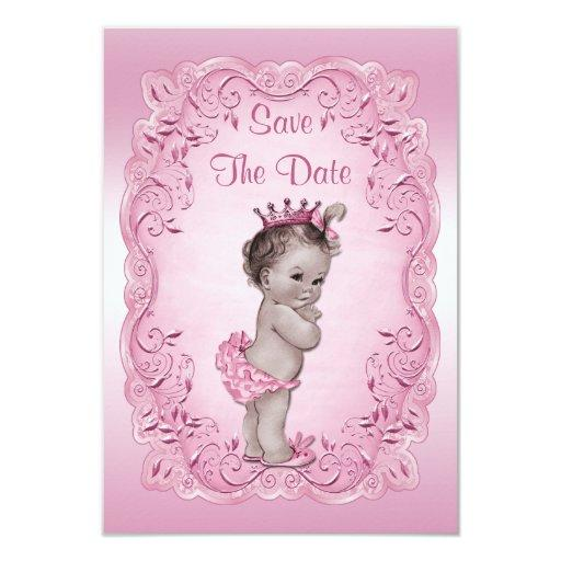 Pink Vintage Princess Save The Date Baby Shower Invitations