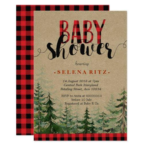 Plaid Wood Woodland Forest Lumberjack Baby Shower