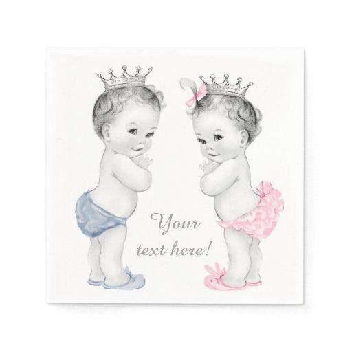 Prince and Princess Twin Baby Shower Standard Cocktail Napkin