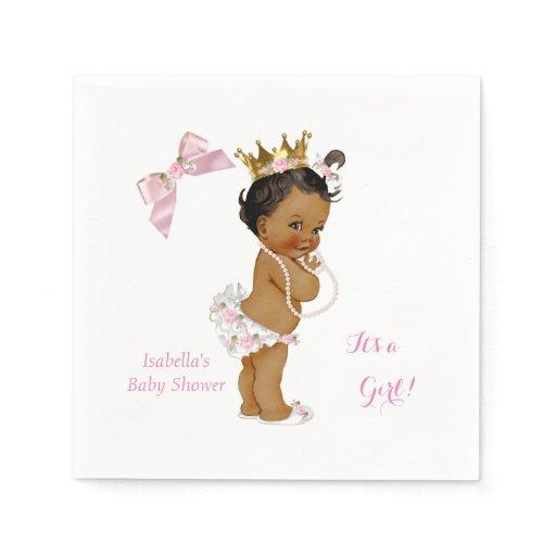 Princess Girl Baby Shower Pink Gold Crown Ethnic Napkin