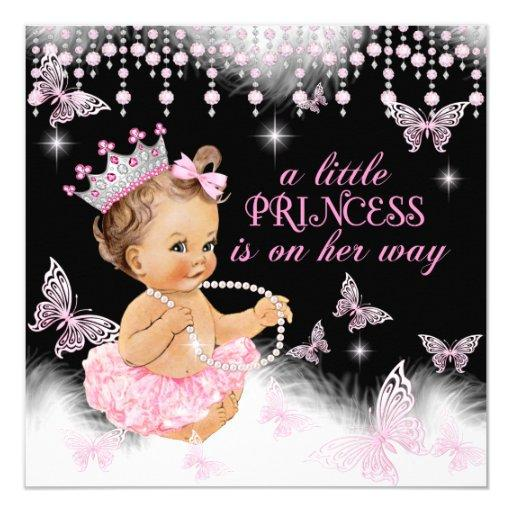 Princess Pink Butterfly Girl Baby Shower Cute Invitations