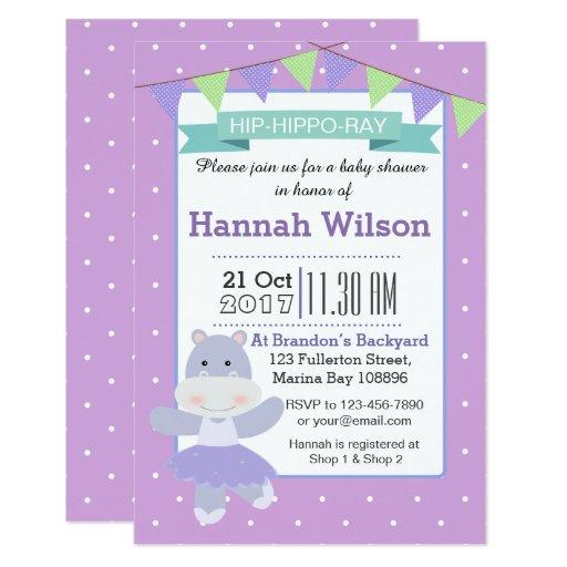Purple Ballerina Hippo Baby Shower invitation