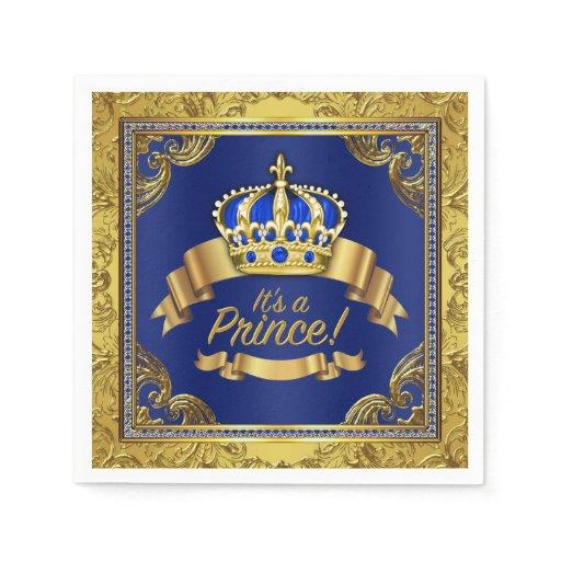 Royal Blue Gold Crown Prince Baby Shower Napkin
