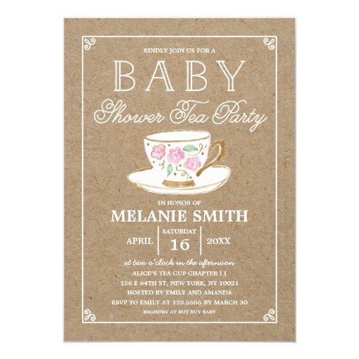 Rustic Modern Tea Party | Baby Shower Invitations