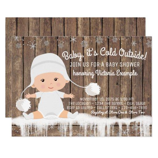Rustic Snowflake Baby its Cold Outside Baby Shower Invitations