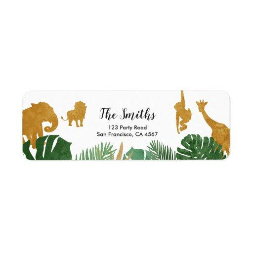 Safari Address Labels Wild one Animals Jungle Zoo