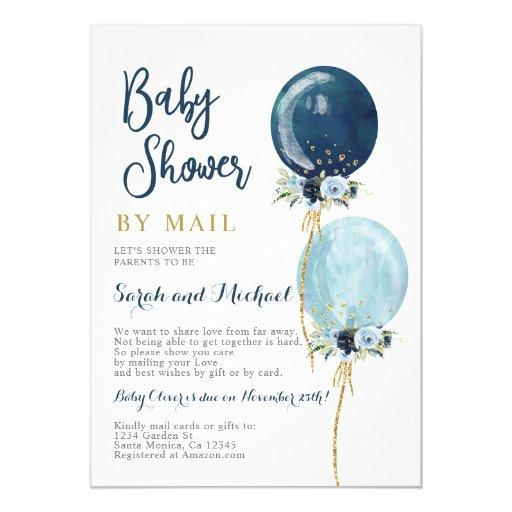 Shower by mail navy blue balloons boy invitation