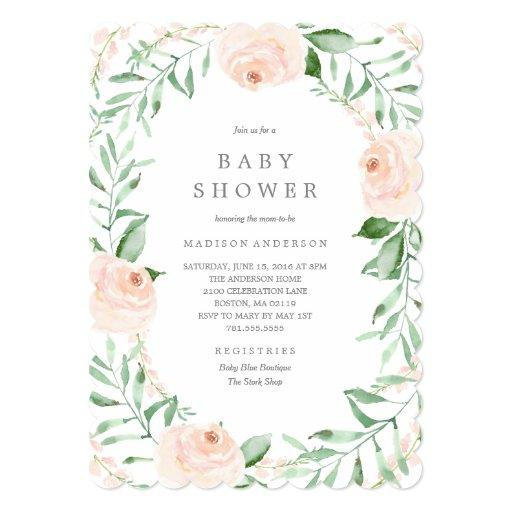 Soft Garden Florals Baby Shower Invitation