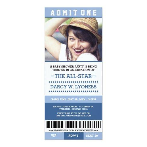 Sports Ticket Baby Shower Party Invites
