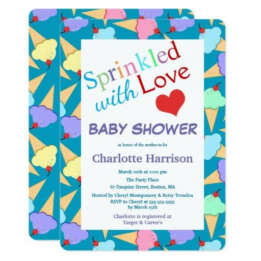 Sprinkled with Love Ice Cream Cones Baby Shower Invitations