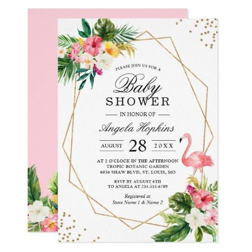 Tropical Floral Gold Glitters Flamingo