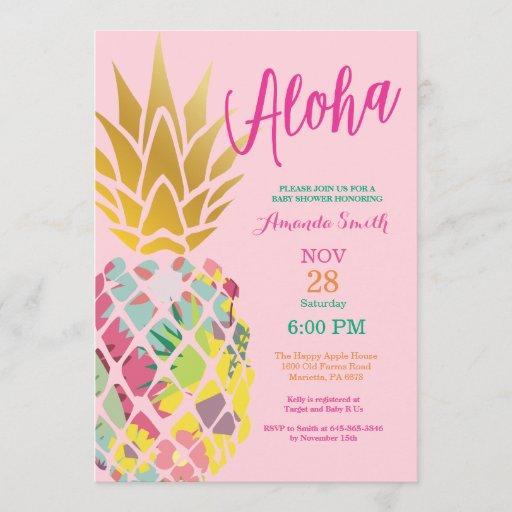 Tropical Pineapple Baby Shower Invitation