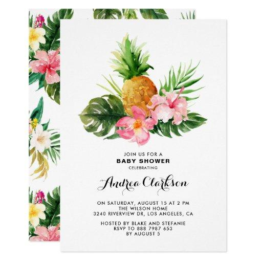 Tropical Watercolor Pineapple Floral Baby Shower Invitation