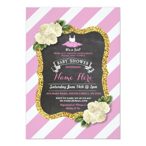 Tutu Cute Girl Rose Pink Ballet Baby Shower Invite