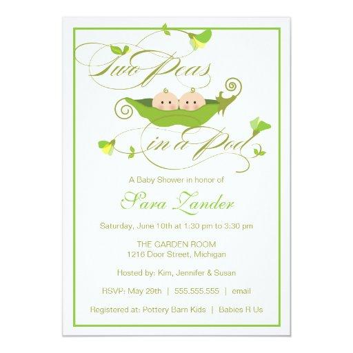 Twins Baby Shower Invitations - Two Peas in a Pod