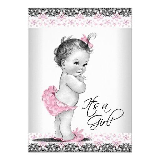 Vintage Pink and Gray Baby Girl Shower Invitationss