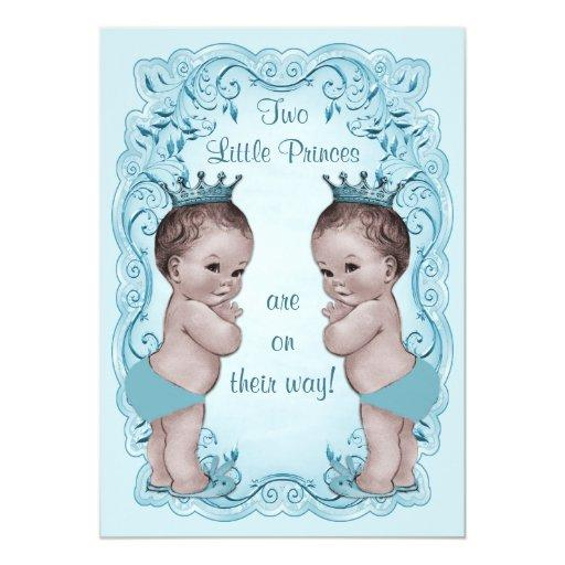 Vintage Princes Boy Twins Ornate Blue Baby Shower