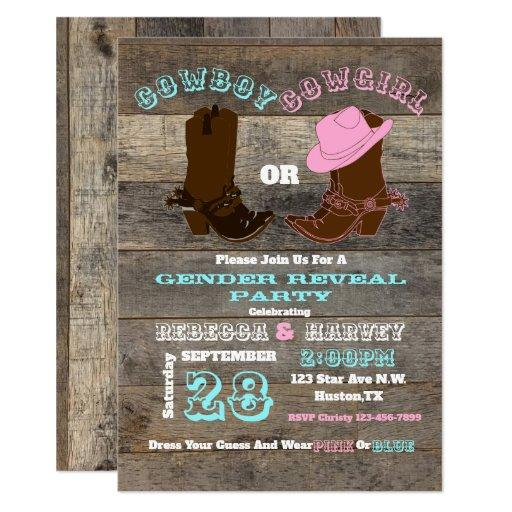 western cowboy or cowgirl gender reveal party Invitations