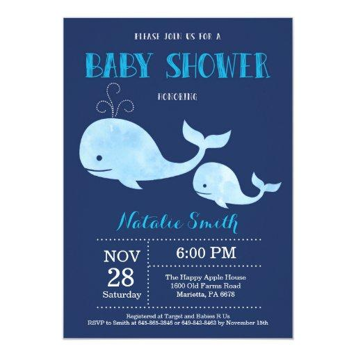Whale Baby Shower Invitation Navy Blue.Nautical
