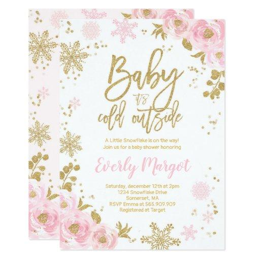 Winter Baby Shower Invitations Pink Gold Snowflake