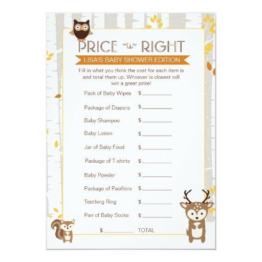 Woodland Fall / Winter Baby Shower Price Game