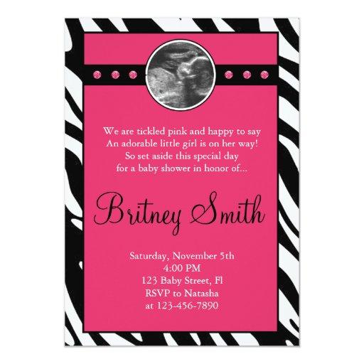 Zebra Pink Sonogram Photo Baby Shower