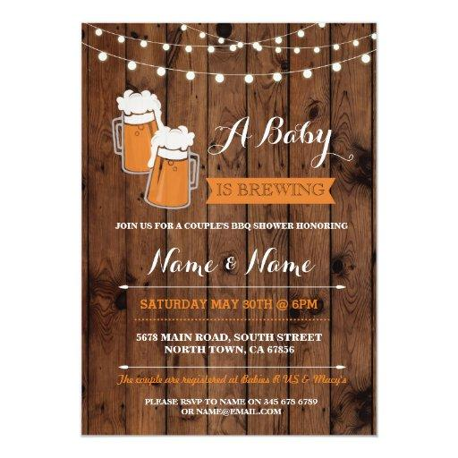 A Baby is Brewing Shower Beers BBQ Wood Invite