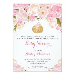 A little Pumpkin Baby Shower Pink & Gold Glitter