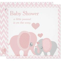 Adorable Elephants, Baby Girl Shower