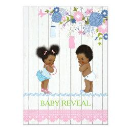 African American Baby Reveal  Invitatio