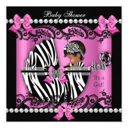 African American Baby Shower Cute Girl Pink Zebra
