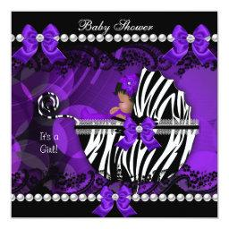 African American Baby Shower Girl Purple Zebra 2