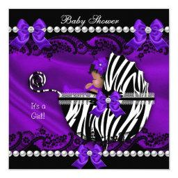 African American  Girl Purple Zebra