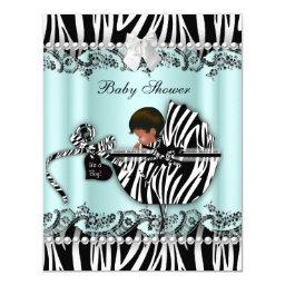 African American Baby Shower Zebra Boy or Girl