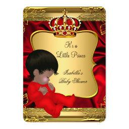 African American Prince Boy Baby Shower Red Gold