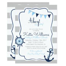 Ahoy its a Boy Nautical Blue Gray Baby Shower