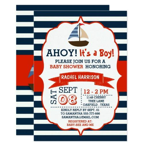 baby shower ahoy its a boy nautical boat baby shower invites