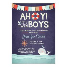 Ahoy It's Twin Boys Shower Invitate Ocean Nautical