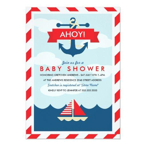 baby shower ahoy nautical baby shower invitation